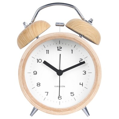 Ceas deşteptător de design Karlsson 5660WH, din lemn