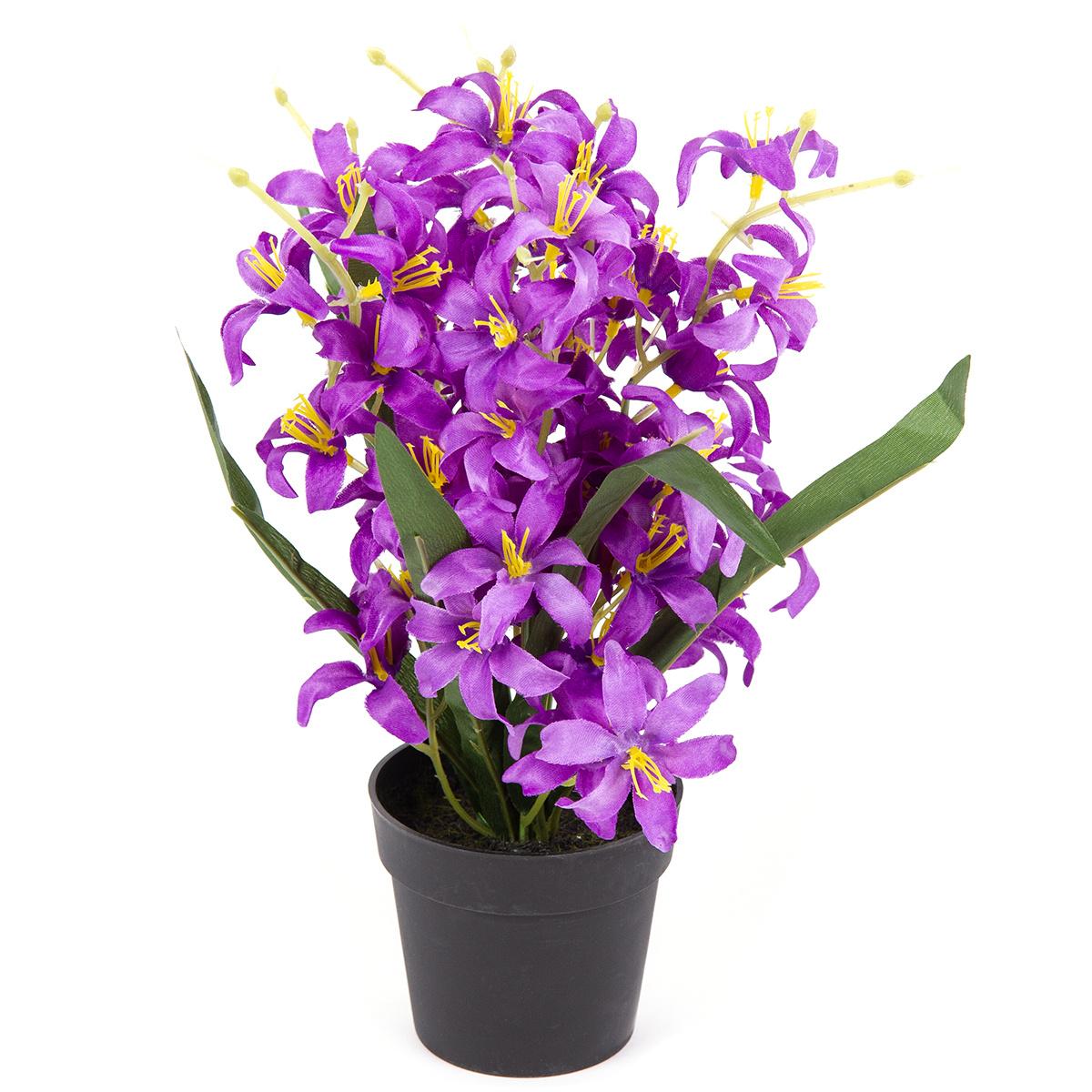 Umělá květina Lilie drobnokvětá v květináči fialová, 30 cm