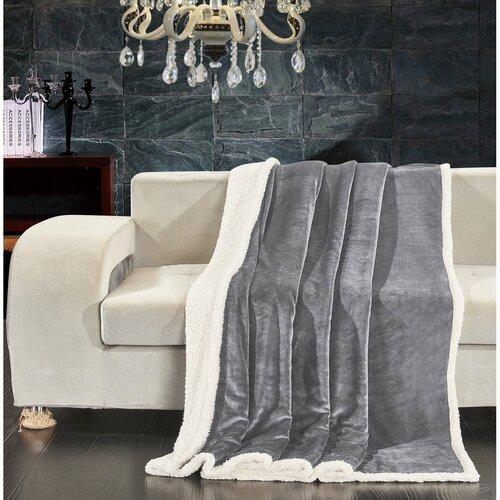 Pătură imitaţie lână DecoKing Teddy, gri, 150 x 200 cm
