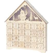 Adventní LED dřevěný kalendář Secrets of Santa, 37,5 x 43 cm