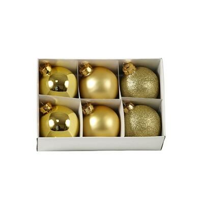 Skleněné vánoční koule, zlaté, 6 ks, zlatá