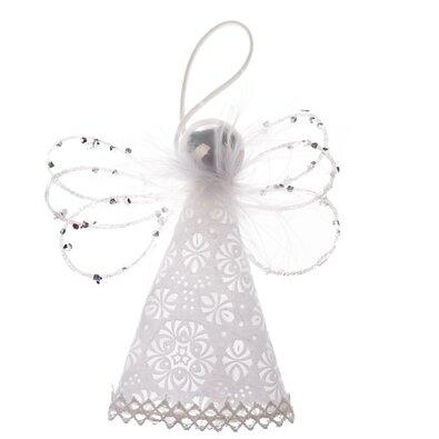 Závesná dekorácia Anjel s korálkami, 12,5 cm