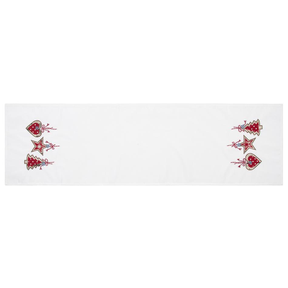 BO-MA Trading Vánoční běhoun na stůl Perníčky bílá, 40 x 140 cm