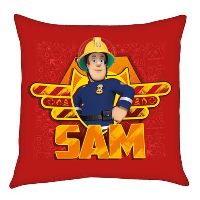 Sam a tűzoltó kispárna piros, 40 x 40 cm