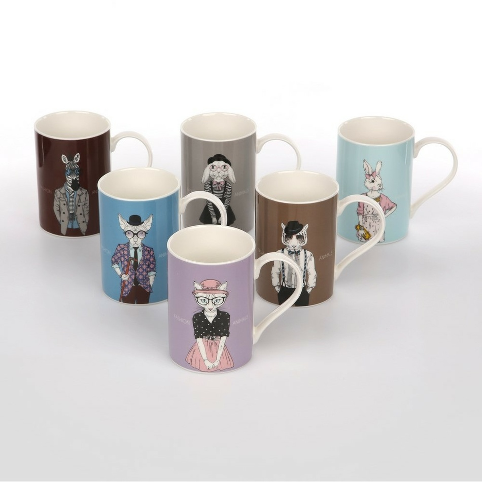 Sada porcelánových hrnků Fashion Animals, 330 ml, 6 ks