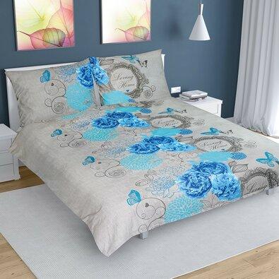 Bavlněné povlečení Růže modrá, 200 x 200 cm, 2 ks 70 x 90 cm