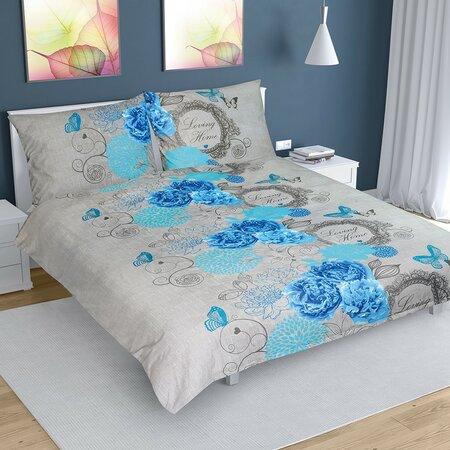 Rózsa pamut ágynemű, kék, 200 x 200 cm, 2 db 70 x 90 cm