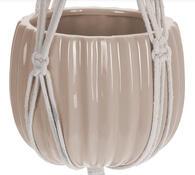 Doniczka ceramiczna w ozdobnej siatce, brązowy