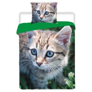 Bavlněné povlečení Kočka, 140 x 200 cm, 70 x 90 cm