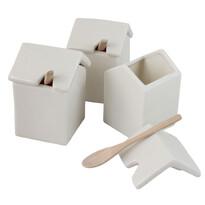 3-dielna sada keramických dóz s drevenými lyžičkai