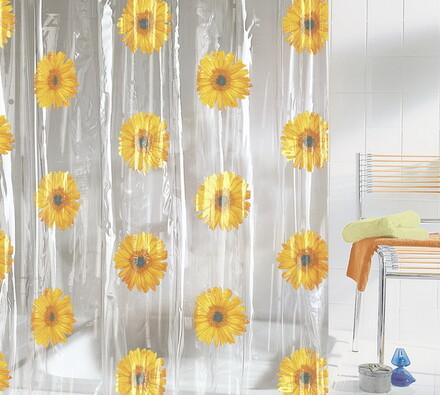 Vinylový sprchový závěs Slunečnice, žlutá