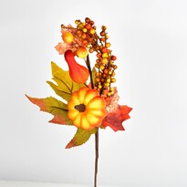 Podzimní dekorace větvička s dýní, 30 cm