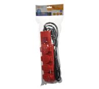 Solight Prodlužovací kabel venkovní 4 zásuvky délka 3 m červený