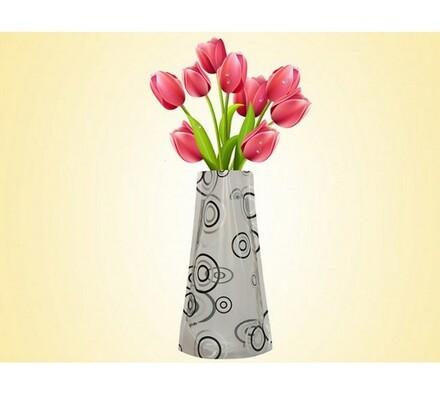 Váza skládací s kruhy, vícebarevná, 19 x 28 cm