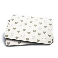 Korkové prestieranie Hearts biela, 29 x 21 cm, sada 2 ks