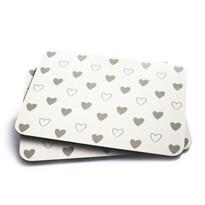 Korkové prostírání Hearts bílá, 29 x 21 cm, sada 2 ks