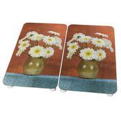Kryty na sporák s květinou 2 ks