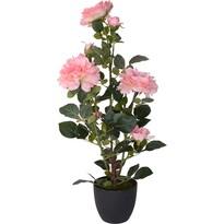 Sztuczna róża krzaczasta w doniczce różowy, 70 cm