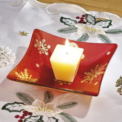 Skleněný tácek pod svíčku - čtverec, červená