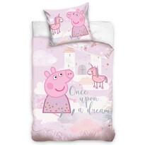 Lenjerie de pat din bumbac pentru pătuț Purcelușa Peppa Visul roz, 100 x 135 cm, 40 x 60 cm