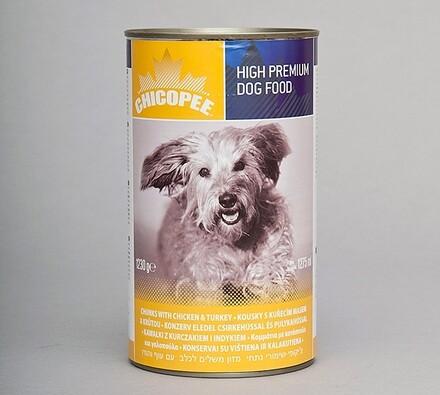 Chicopee konzerva s kuřetem a krůtou, 400g