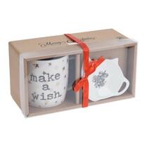 Merry Christmas karácsonyi ajándékkészlet bögrével és alátéttel, 320 ml, fehér