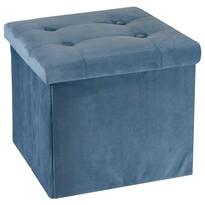 Koopman Pufa siedzisko do przechowywania Smooth Velvet, niebieski