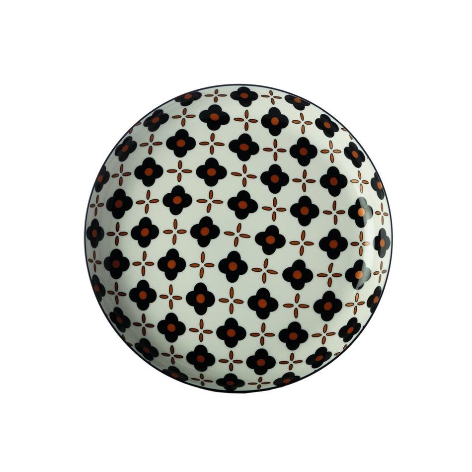 Maxwell&Williams Mělký talíř Marigold Black Flower 23 cm