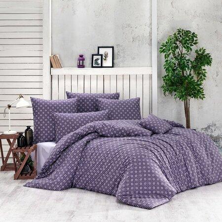 Bavlnené obliečky Brynjar fialová, 220 x 200 cm, 2 ks 70 x 90 cm