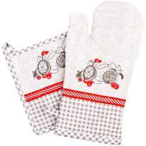 Zestaw kuchenny rękawica i podkładka Owoce szary, 18 x 32 cm, 20 x 20 cm