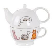 Ceainic Toro Pisică, din porțelan, cu ceașcă