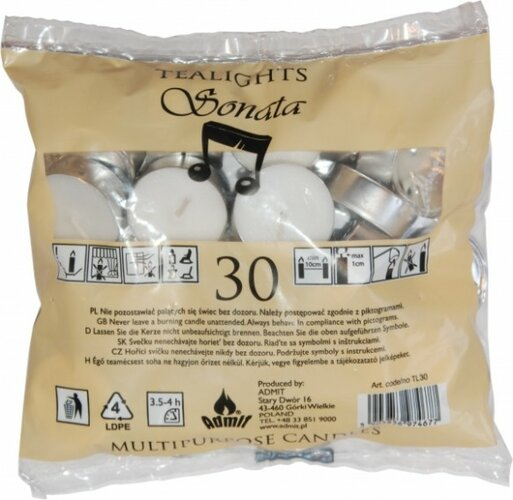 Čajové sviečky biele 30 ks