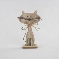 Dekoracyjny kot drewniany brązowy, 25 cm