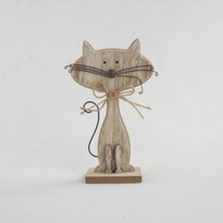 Pisică decorativă din lemn, maro, 25 cm
