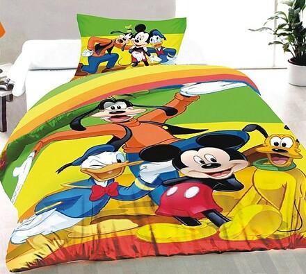 Dětské bavlněné povlečení Mickey Mouse a přátelé, , vícebarevná, 140 x 200 cm, 70 x 90 cm