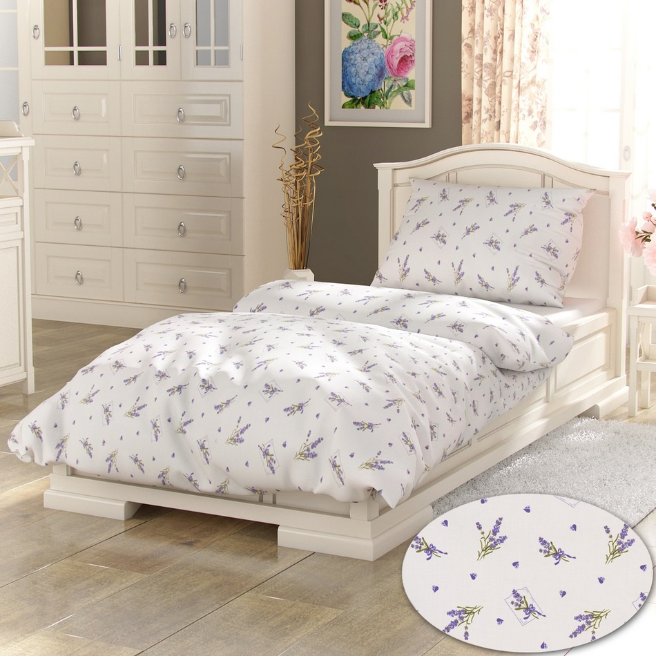 Kvalitex bavlna povlečení Provence Collection Lavender bílá 140x200 70x90
