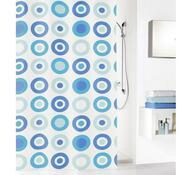 Kleine Wolke sprchový závěs Kruhy modrá, 180 x 200 cm