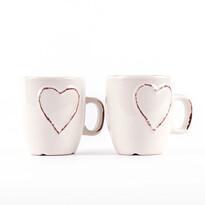 Set căni ceramice Heart 150 ml, 2 buc., crem