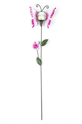 Solární dekorace motýl, růžová
