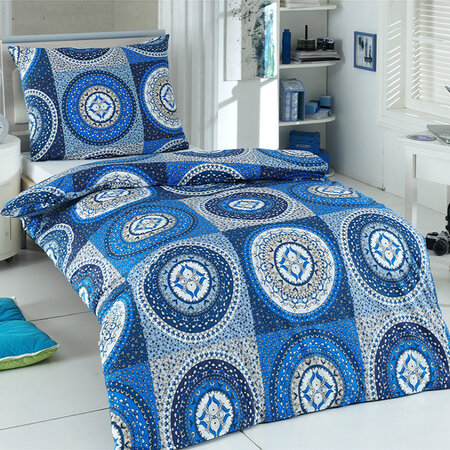 Gipsy pamut ágyneműhuzat kék, 160 x 200 cm, 2 db 70 x 80 cm