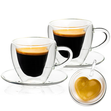 4Home Termo pohár šálka s podšálkou Heart Hot&Cool 150 ml, 2 ks