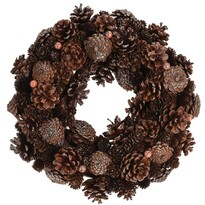 Mairo dekor koszorú, barna, átmérő: 34 cm