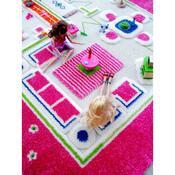 Dětský koberec 3D Dům na hraní, 134 x 200 cm, růžová, 135 x 200 cm
