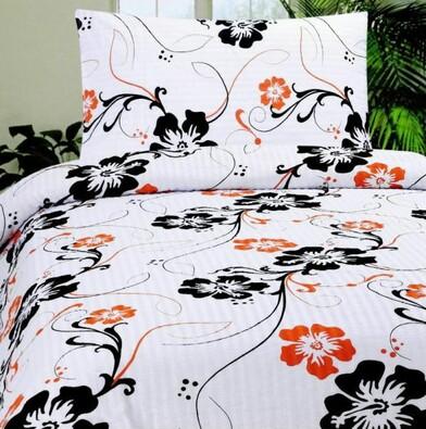 Krepové povlečení Hipi oranžová, 140x200, 70x90 cm, bílá + černá, 140 x 200 cm, 70 x 90 cm