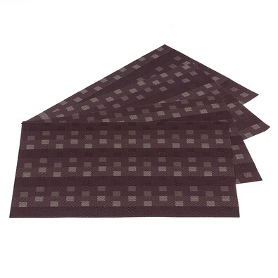 Prostírání Grid hnědá, 30 x 45 cm, sada 4 ks