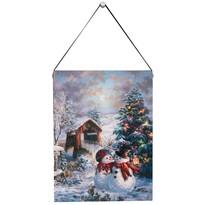 Altom LED obraz na plátne Zamilovaní snehuliaci, 15 x 20 cm