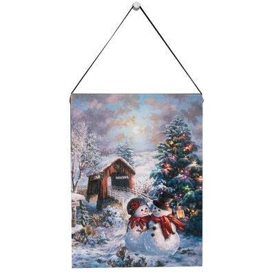 Altom LED obraz na plátně Zamilovaní sněhuláci, 15 x 20 cm
