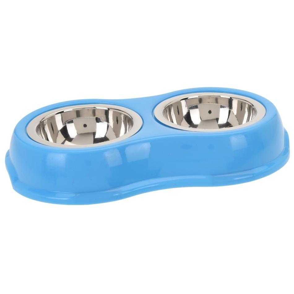 Dvojitá miska pro psa, modrá