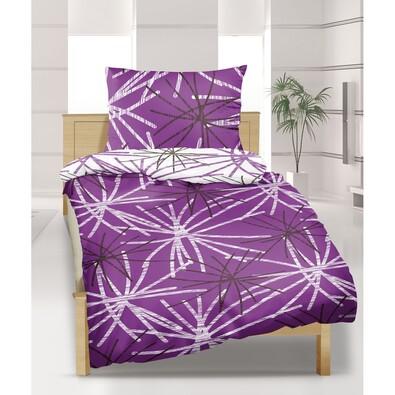 Krepové povlečení Hvězda fialová, 140 x 200 cm, 70 x 90 cm
