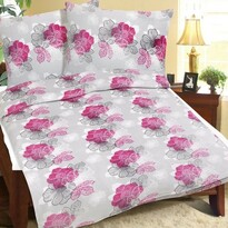 Bellatex Szürkésrózsaszín virág mikroflanel ágyne mű, 140 x 220 cm, 70 x 90 cm